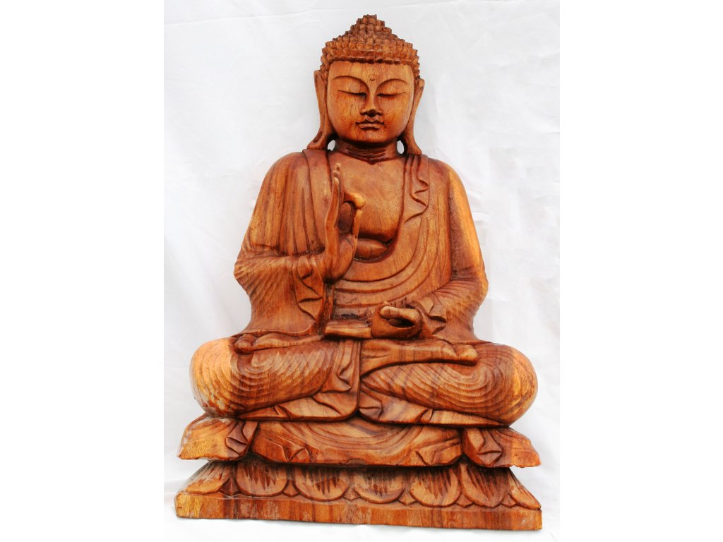 Socha Budha Buddha dřevořezba 60cm