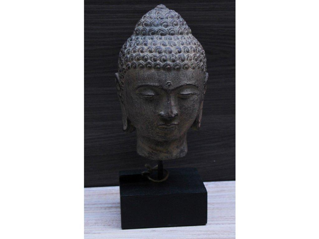 Socha Budha Buddha hlava na dřevěném podstavci 30cm - patina BY