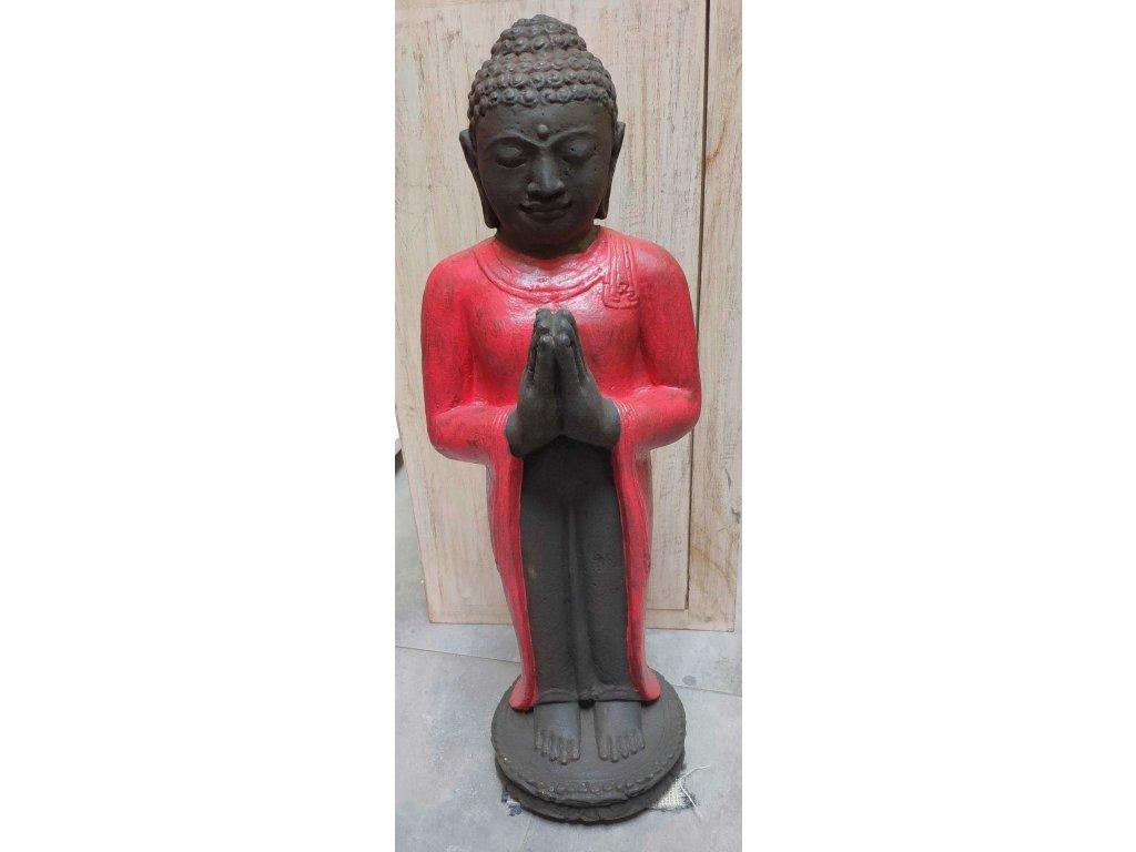 Socha Budha Buddha stojící meditující 60cm - červená