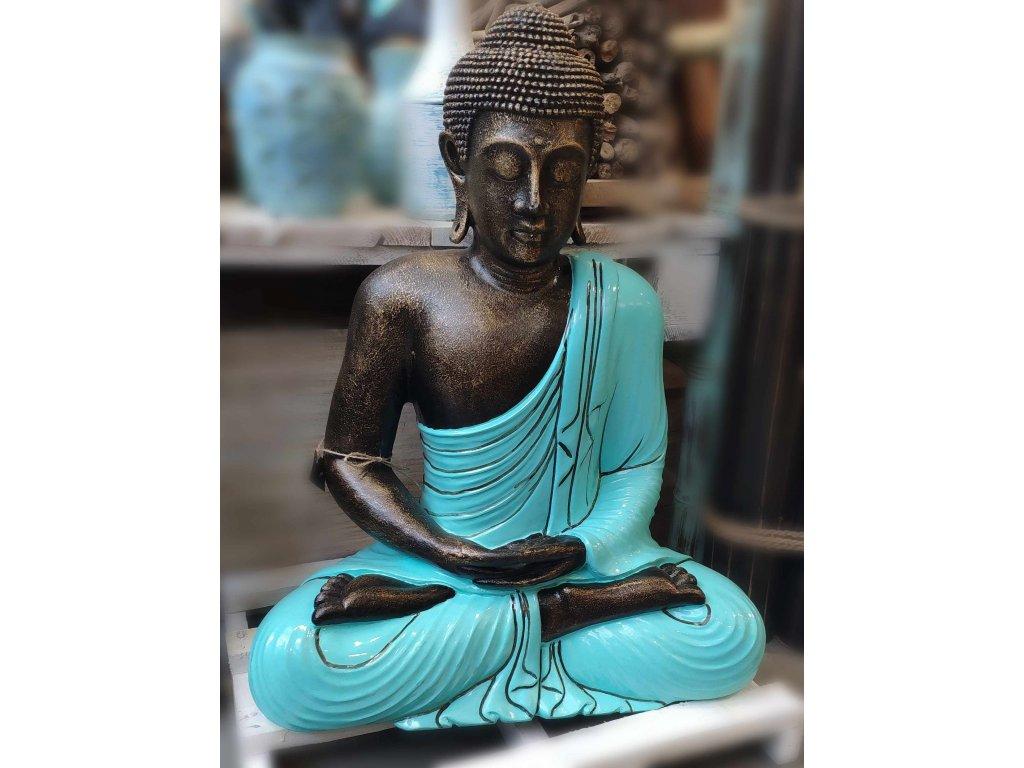Socha Budha Buddha fiber pryskyřice 60cm - tyrkysové roucho