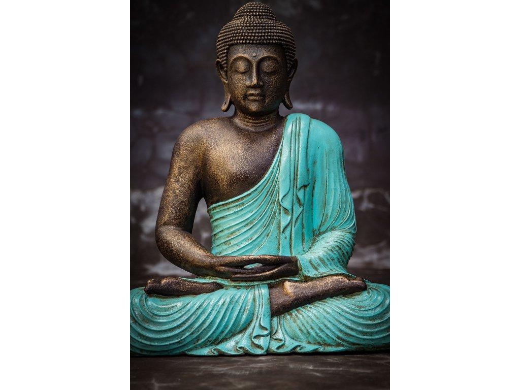 Socha Budha Buddha fiber pryskyřice 60cm - modré roucho