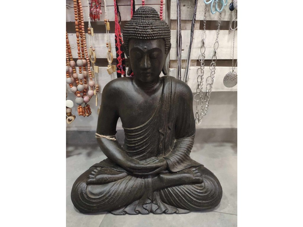 Socha Budha Buddha fiber pryskyřice 60cm - dark brown