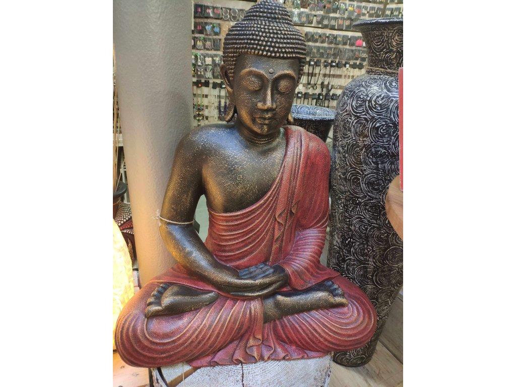 Socha Budha Buddha fiber pryskyřice 60cm - červené roucho