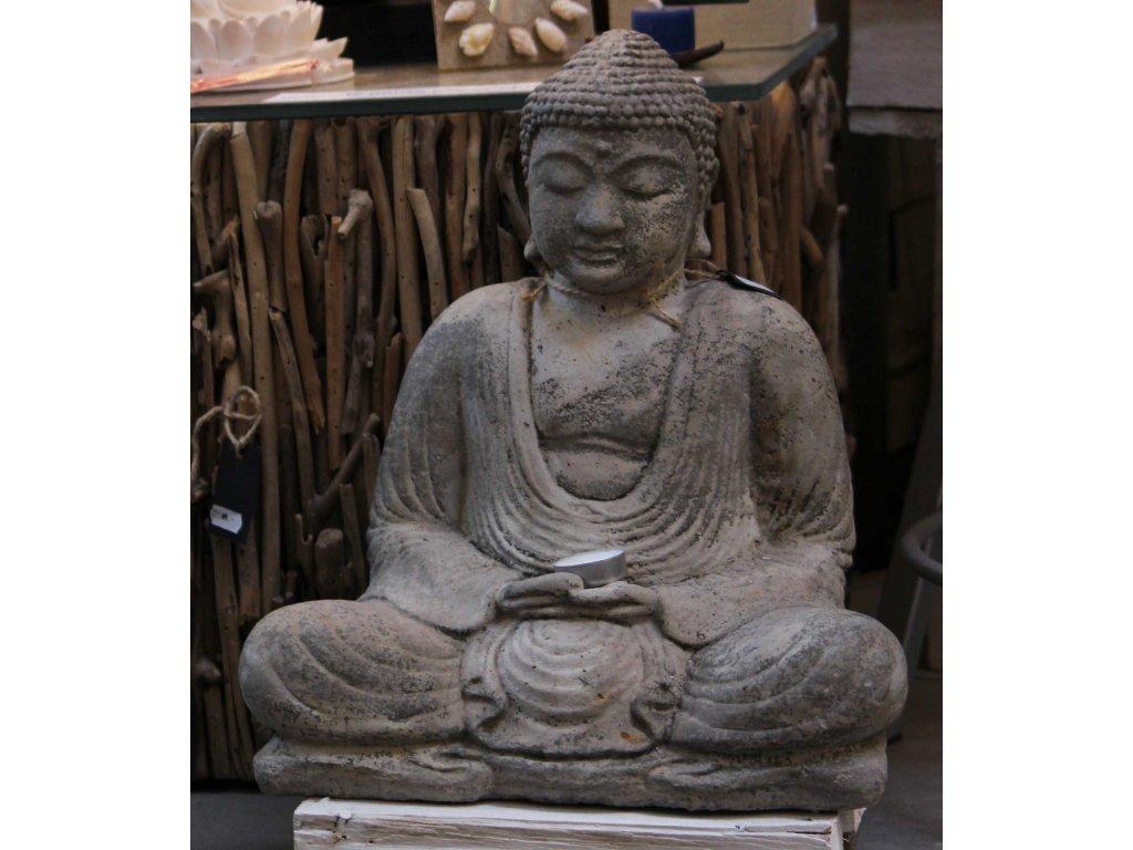 Socha Budha Buddha sedící 40cm patina grey