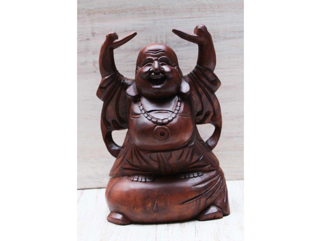 Socha Happy Budha Buddha ručně vyřezávaný 33cm