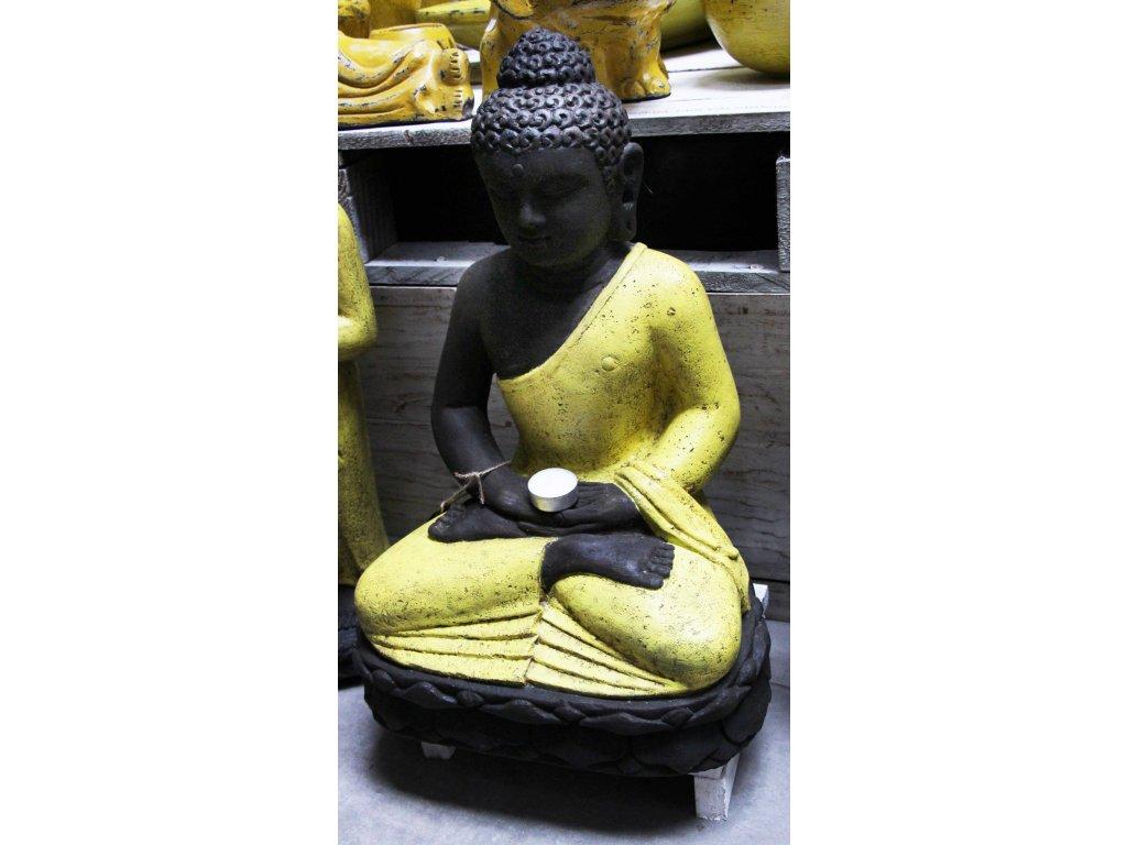 Socha Budha Buddha meditující na lotosovém květu 50cm žluté roucho