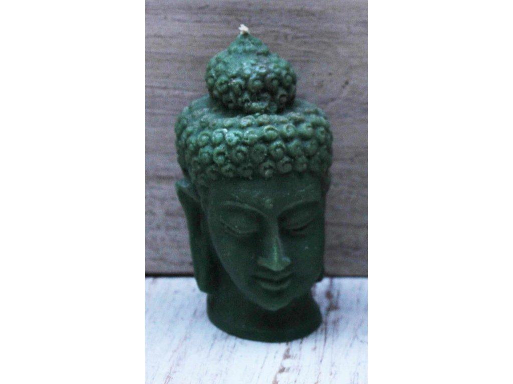 Svíčka Budha Buddha 10cm zelená + dárková krabička