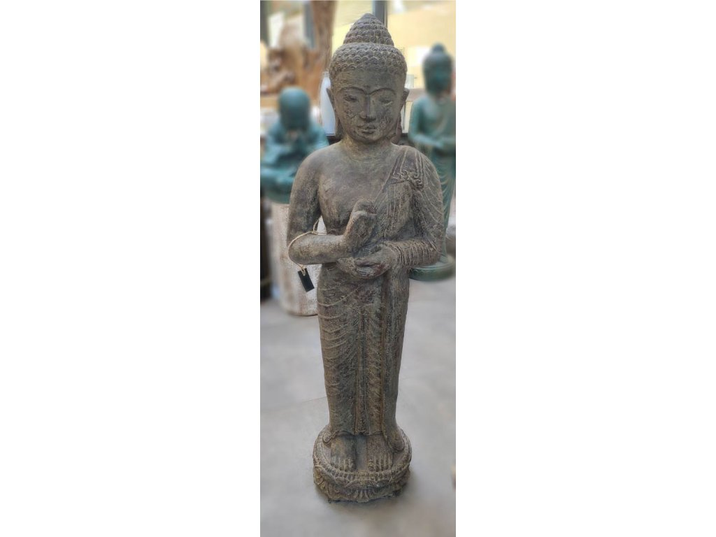 Socha Budha Buddha stojící s miskou hnědá patina 105 cm (3)