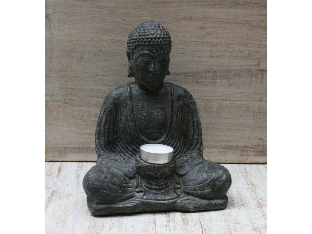 Socha Budha Buddha svíčka 20cm patina DG
