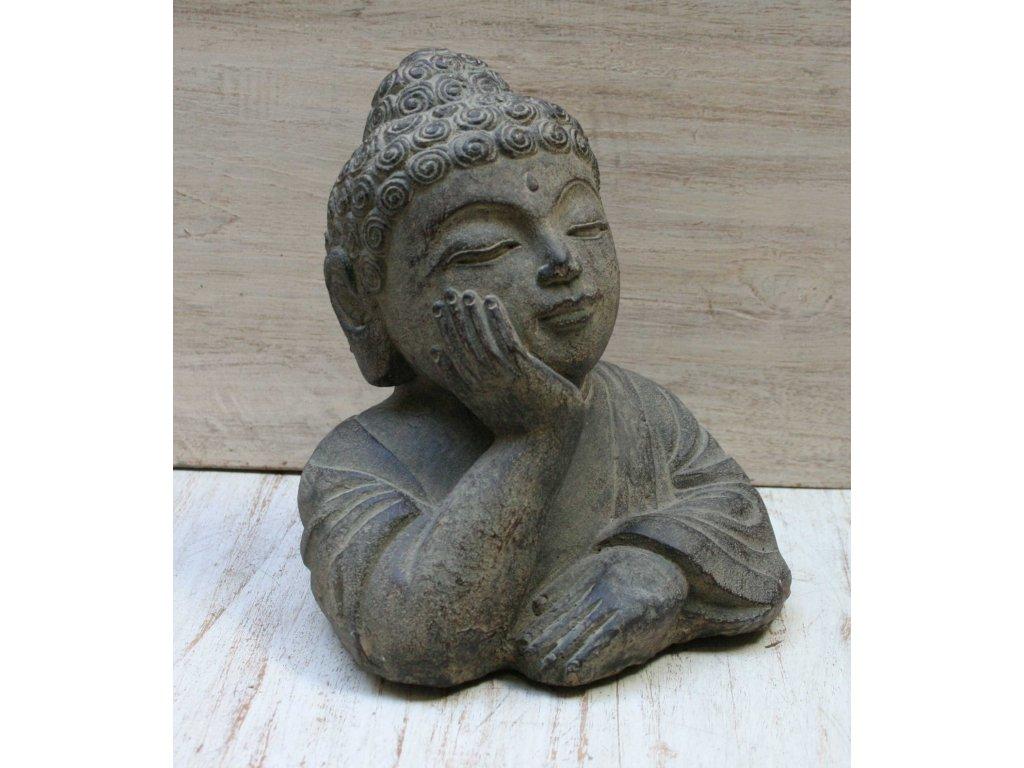 Socha Budha Buddha thinking 19cm patina BY