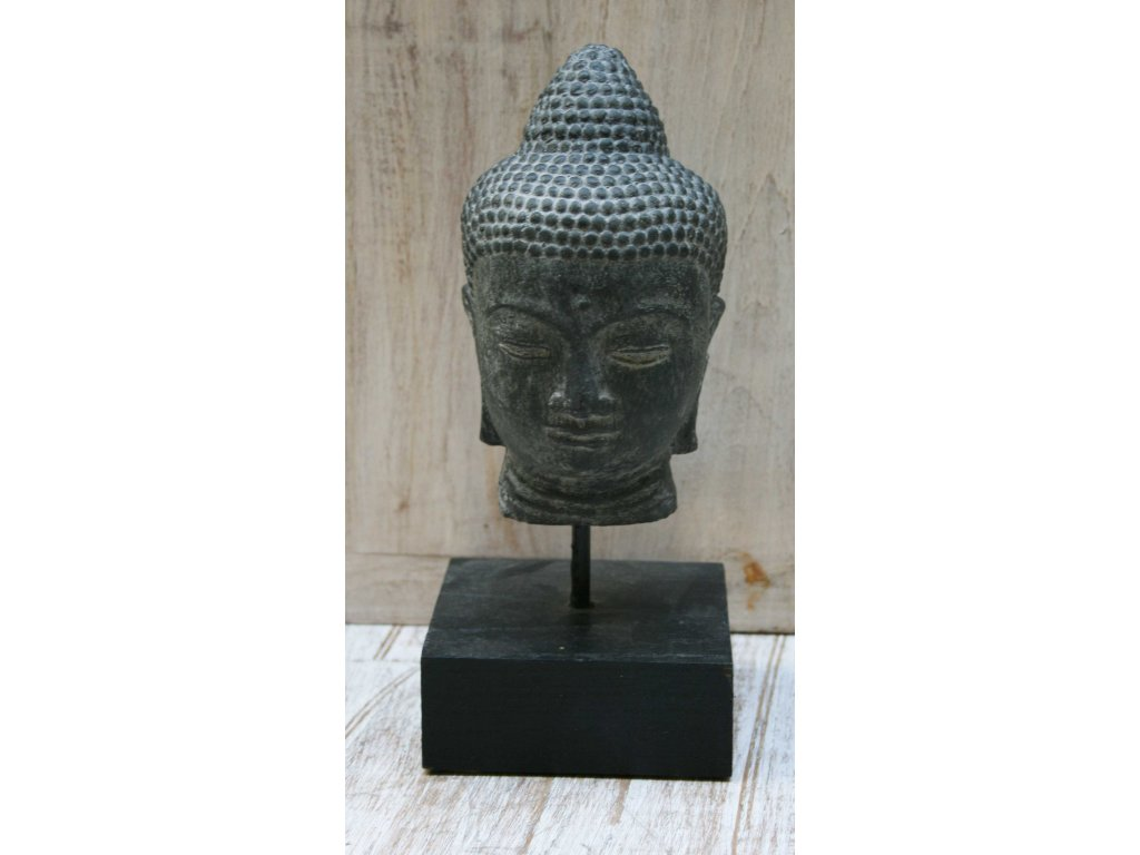 Socha Budha Buddha hlava na dřevěném podstavci 18cm patina DG
