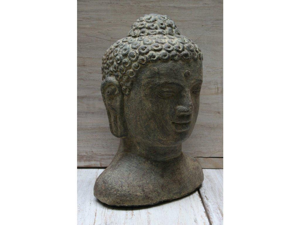 Socha Budha Buddha head torzo 30cm patina BY