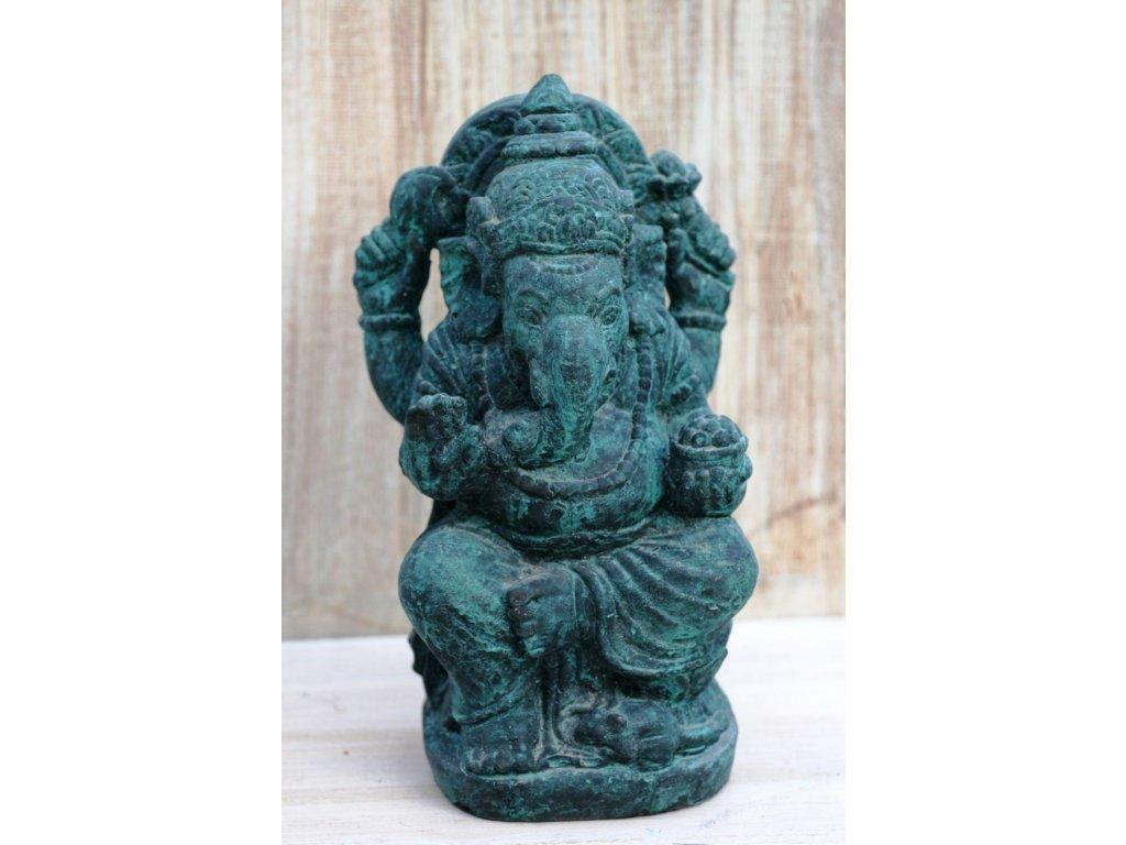 Socha Ganesha 30cm patina Greeny