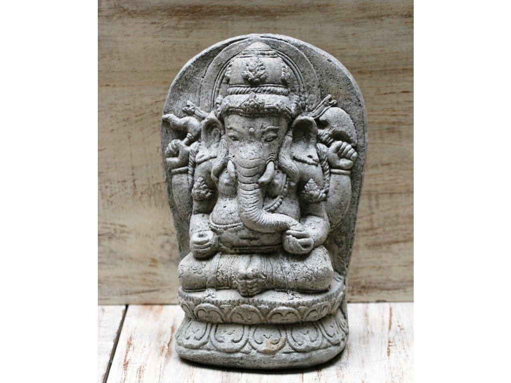 Socha plastika Ganesha 30cm oboustranná - patina GREY