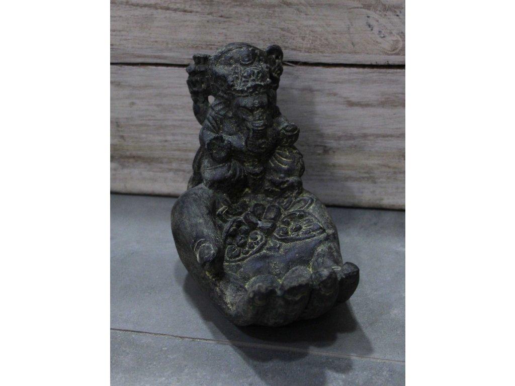 Socha Ganesha ruka na vonné tyčinky 15cm patina BY