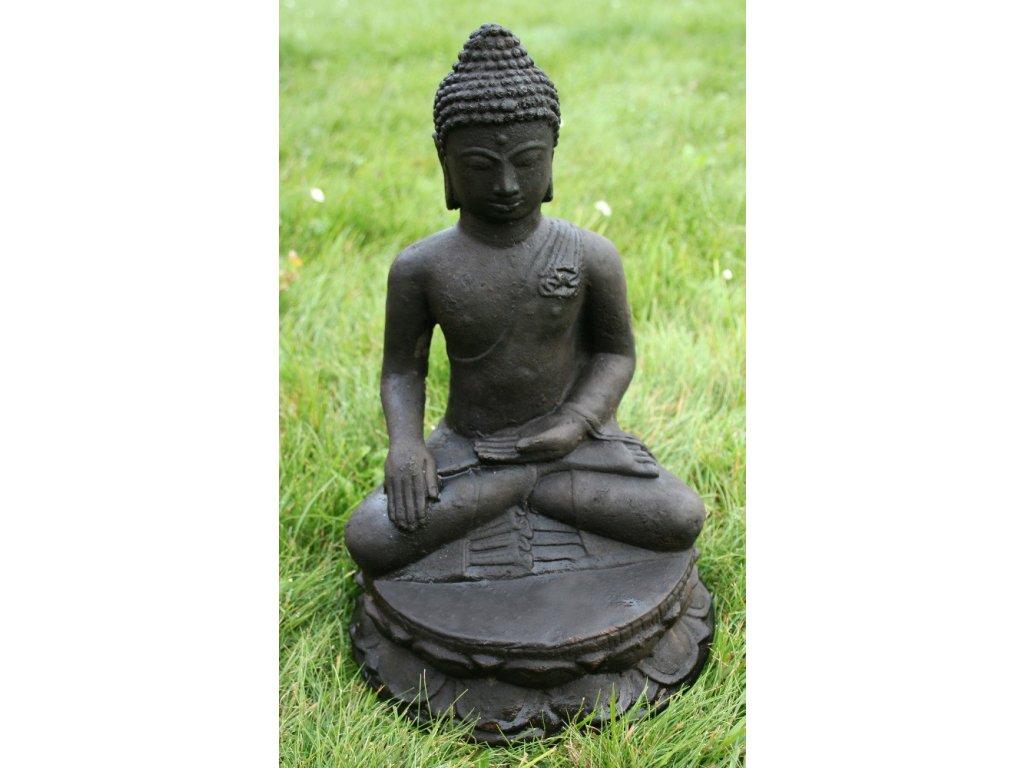 Socha Budha Buddha na lotosovém květu 30cm patina DB