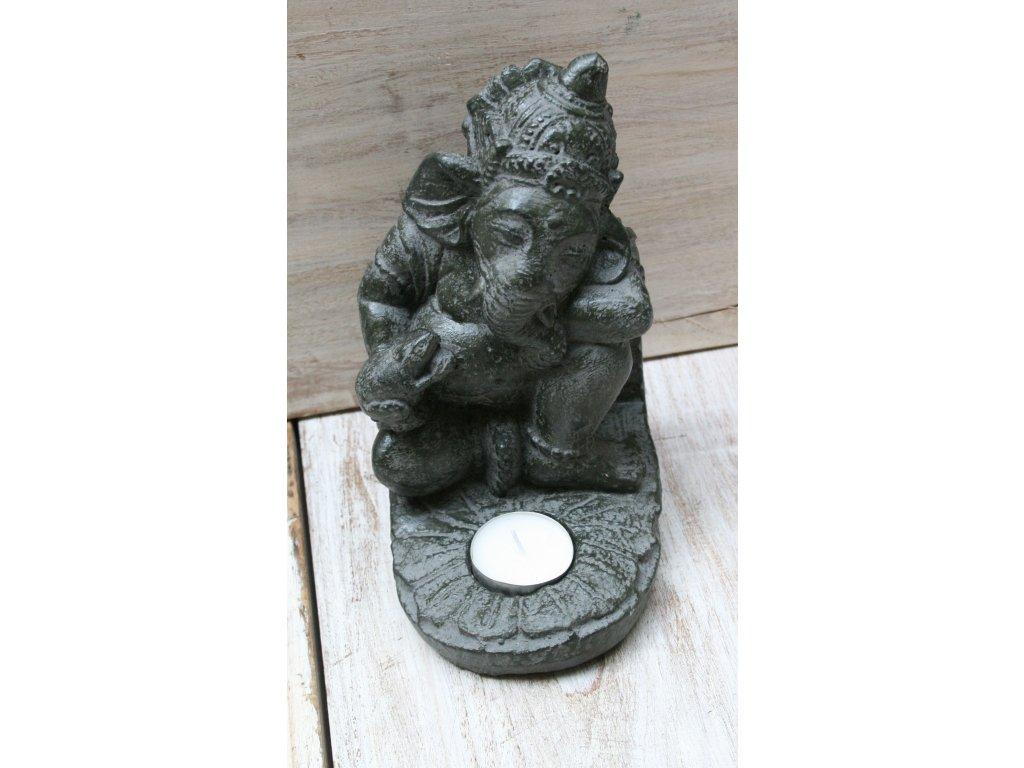 Socha Ganesha na čajovou svíčku 20cm patina DG