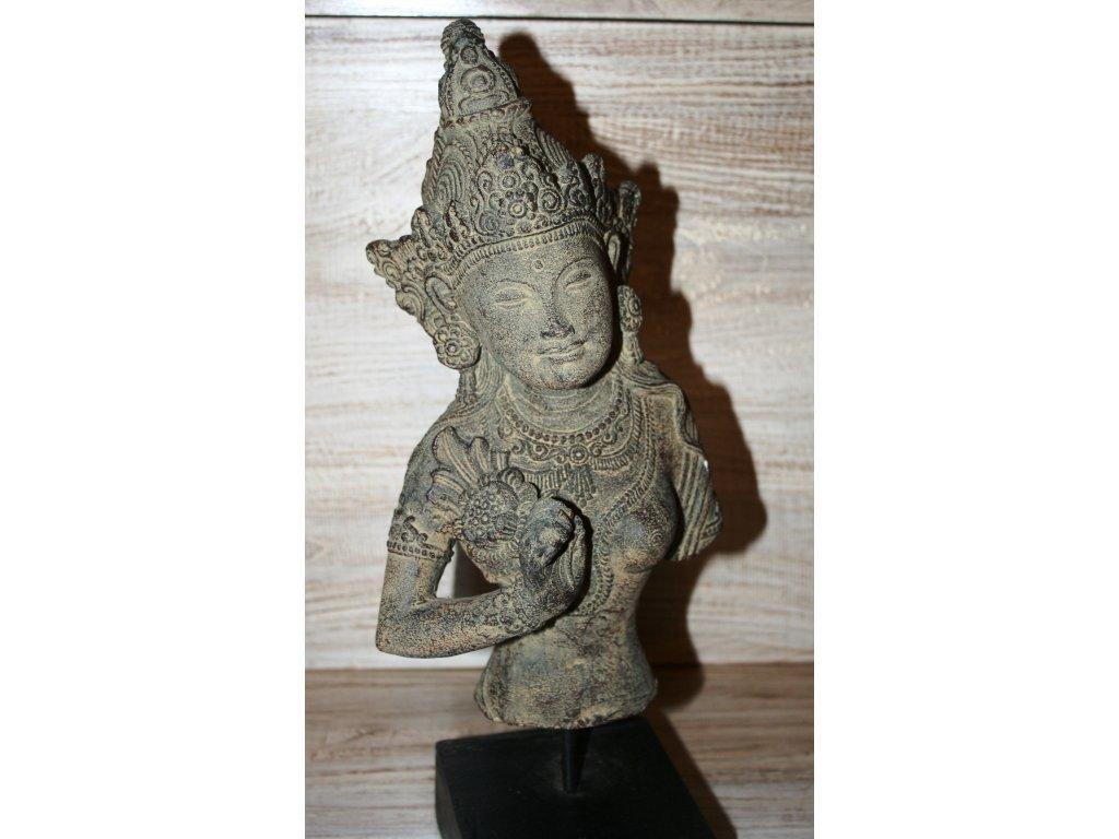 Socha Dewi Tara na dřevěném podstavci 35cm patina BY