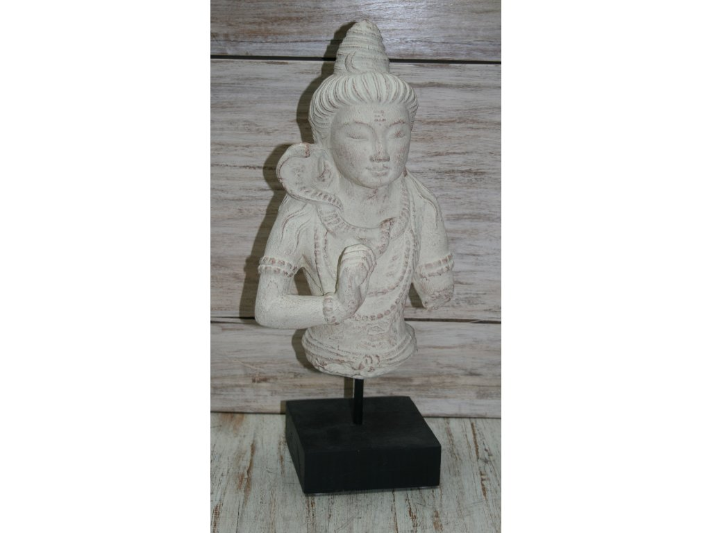 Socha Shiva na dřevěném podstavci 40cm patina CB