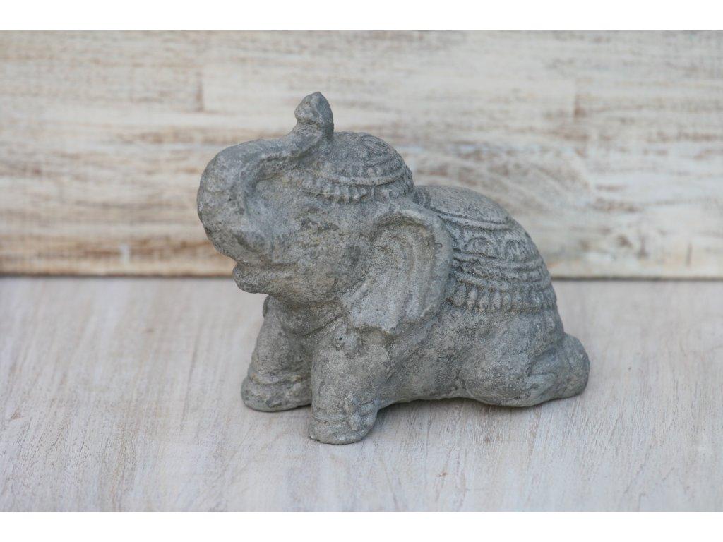 Slon sedící 11x13x8cm patina grey