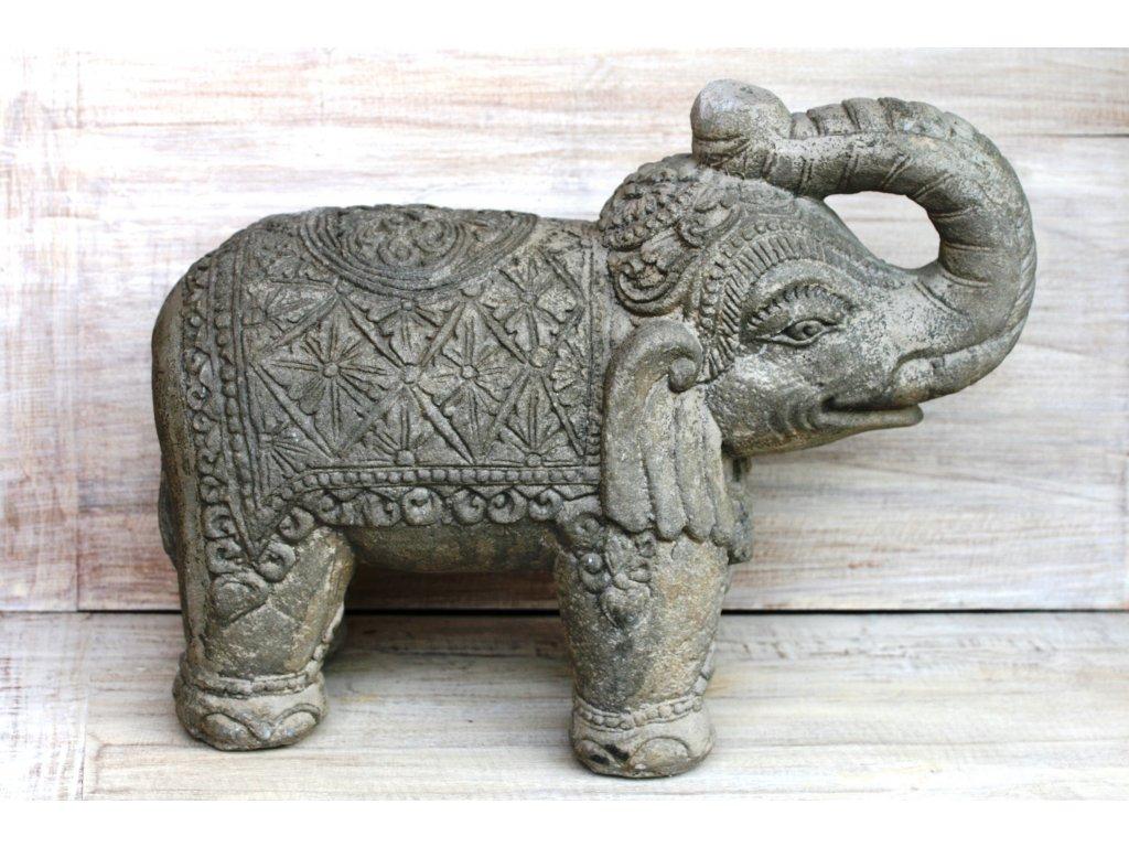 Slon stojící 20x24x10cm patina grey