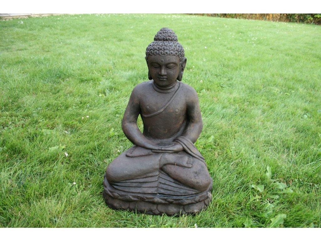 Socha Budha Buddha meditující na lotosovém květu 50cm patina DB