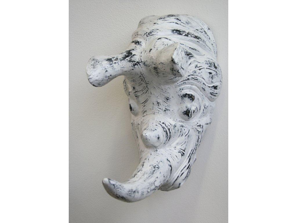 Nosorožec - dekorace hlava 48x28x46cm bílá patina