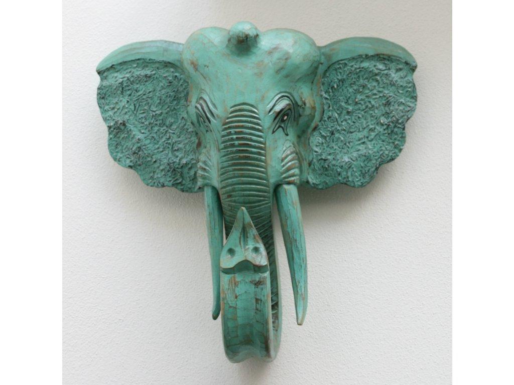 Dřevořezba slona 40x40x20cm zelená patina