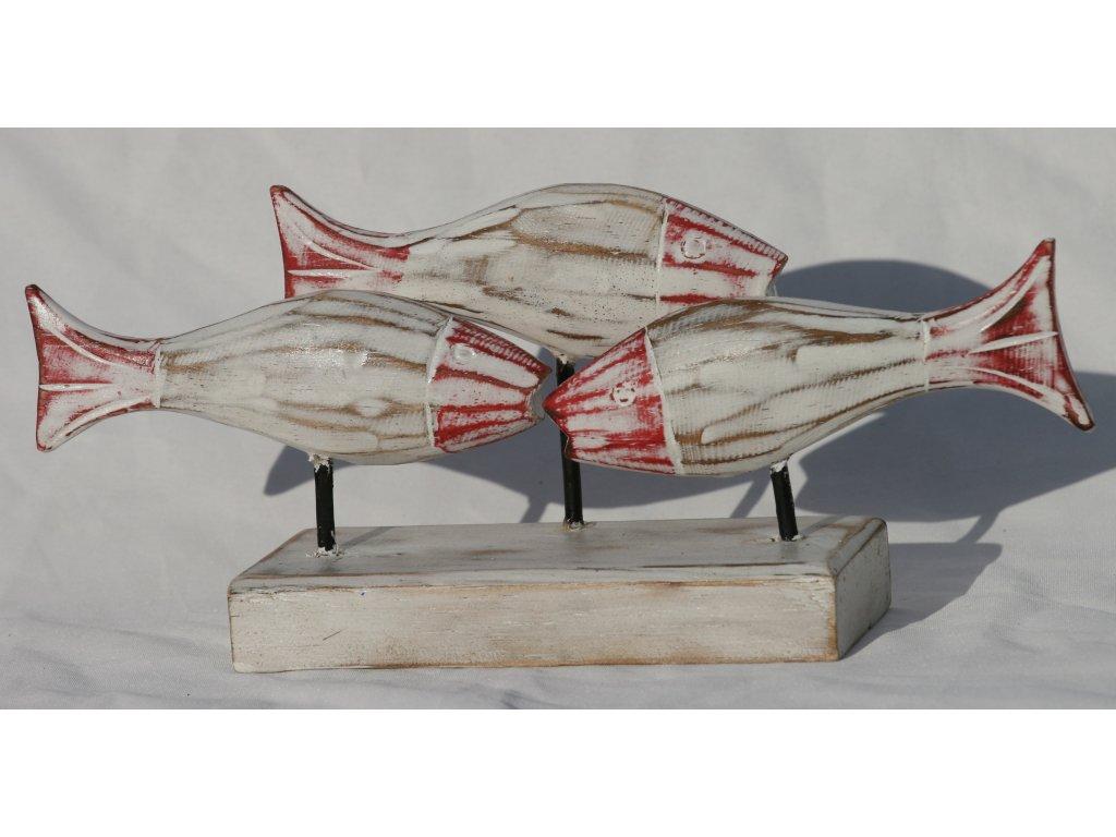 Dřevořezba ryby 3set 24x13cm červený