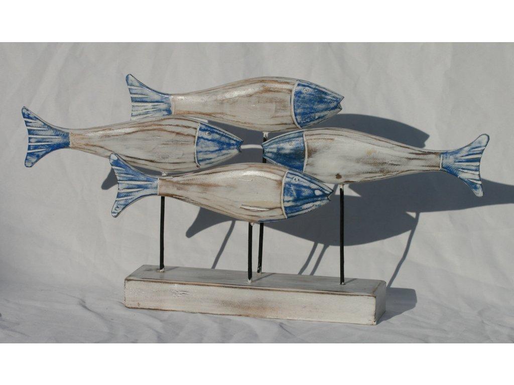Dřevořezba ryby 4set 52x28cm modrý