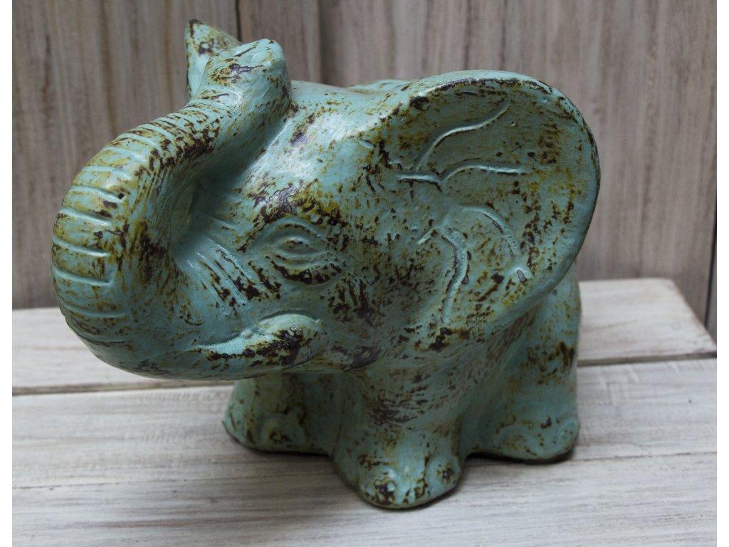 Slon sedící 19x27x19cm zelinkavá patina