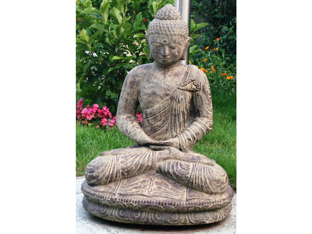 Socha Budha Buddha meditující na lotosovém květu 80cm patina BY