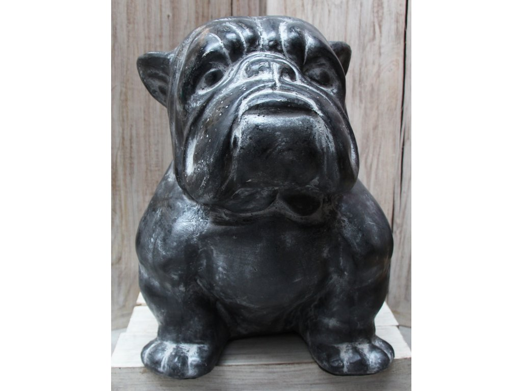 Socha pes - bulldog 43x21x32cm šedá patina