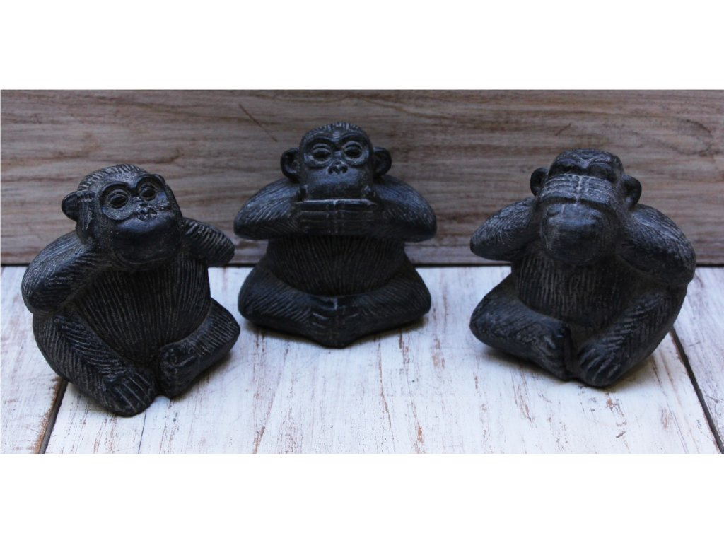 Socha Tři moudré opice - 3set, výška 12cm patina DG