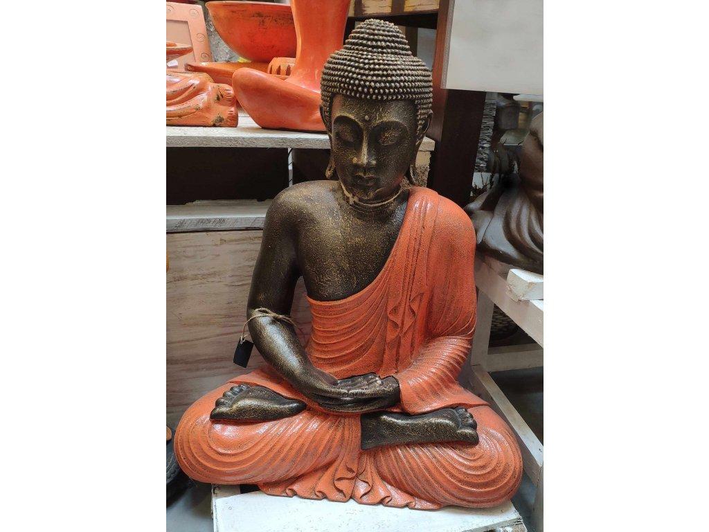 Socha Budha Buddha fiber pryskyřice 60cm oranžové roucho