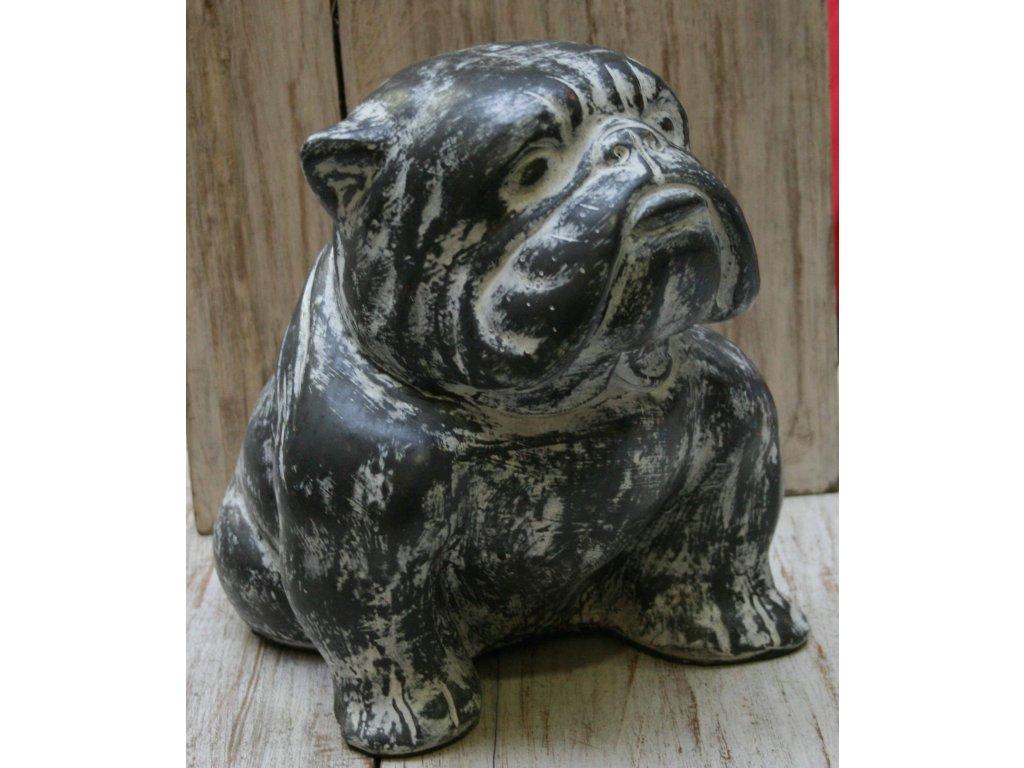 Socha pes - bulldog 36x25x28cm šedá patina