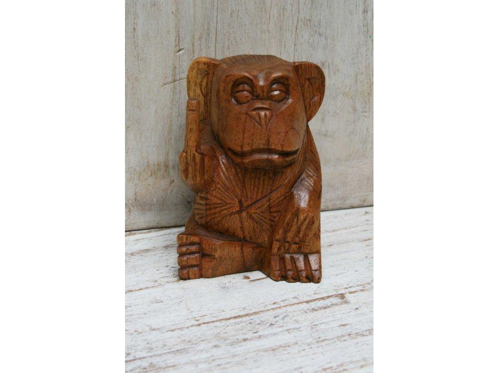 Dřevěná ručně vyřezávaná opice 10cm