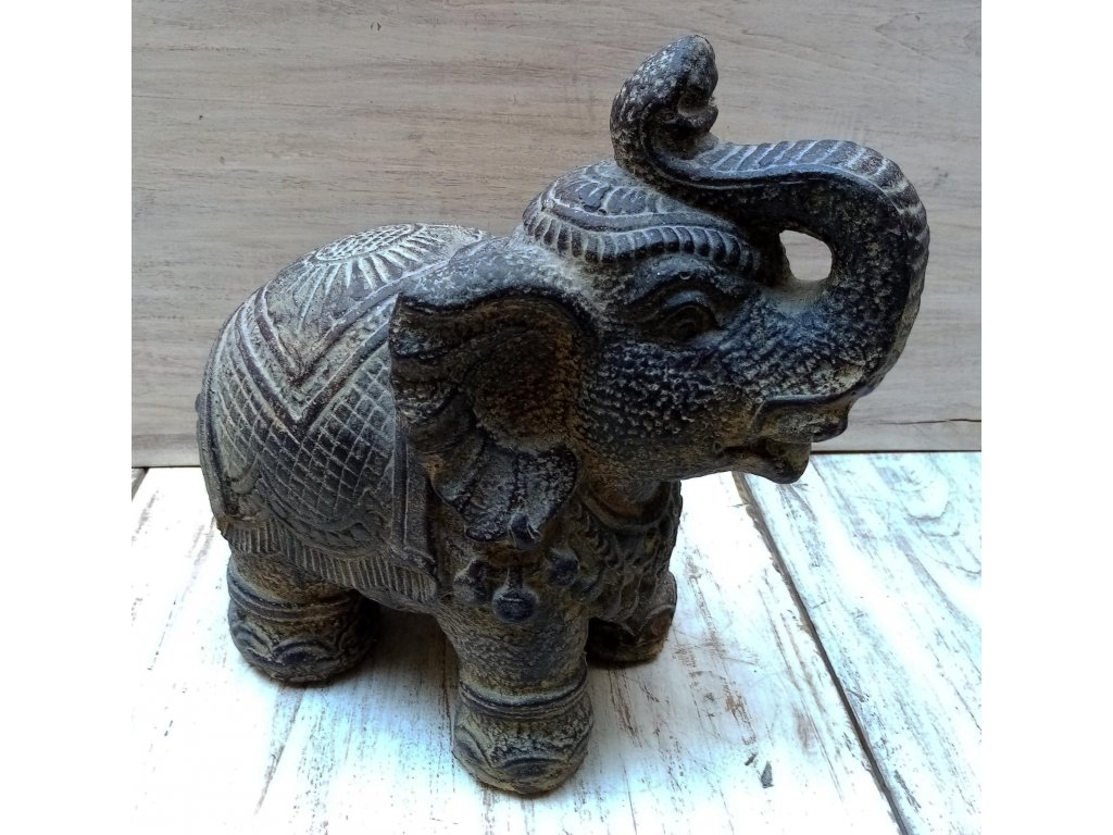 Slon sedící 26x26x15cm patina BY