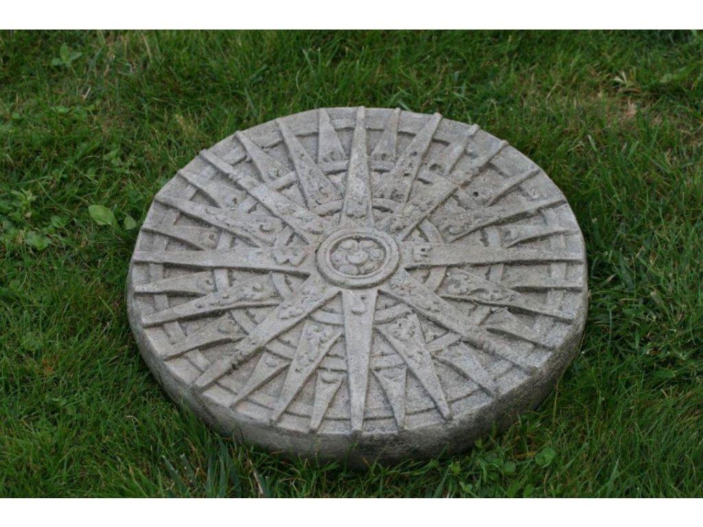 Socha Kompas nášlap – dekorační kolo světlé - průměr 35cm patina grey