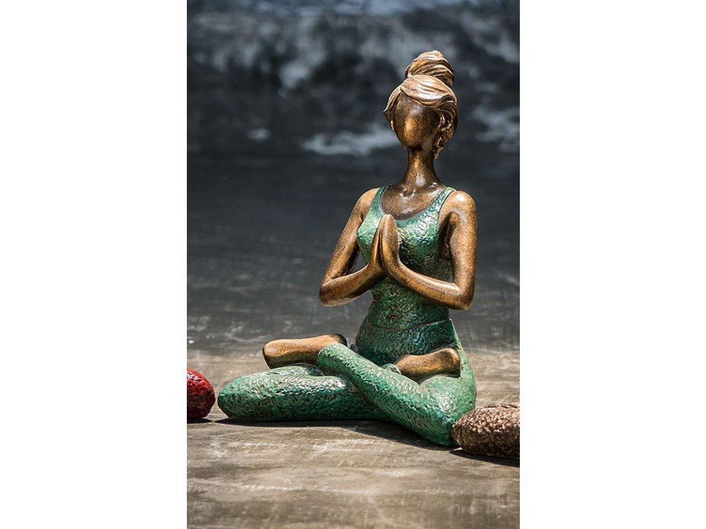 Socha joga lady 24x16,5x13 cm (7) zelená