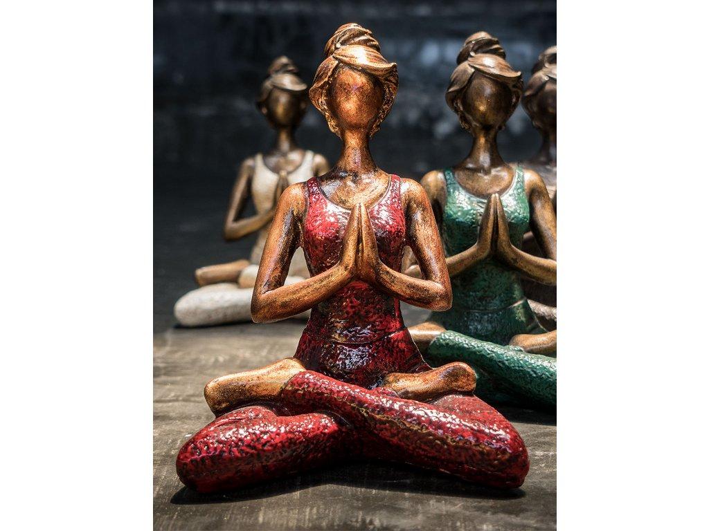 Socha joga lady 24x16,5x13 cm (8) červená