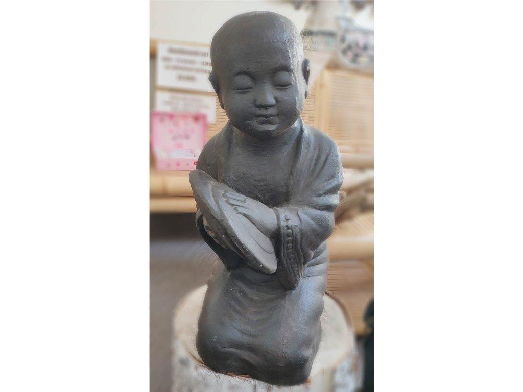 Socha mnich Shaolin monk činely 55cm - patina DB