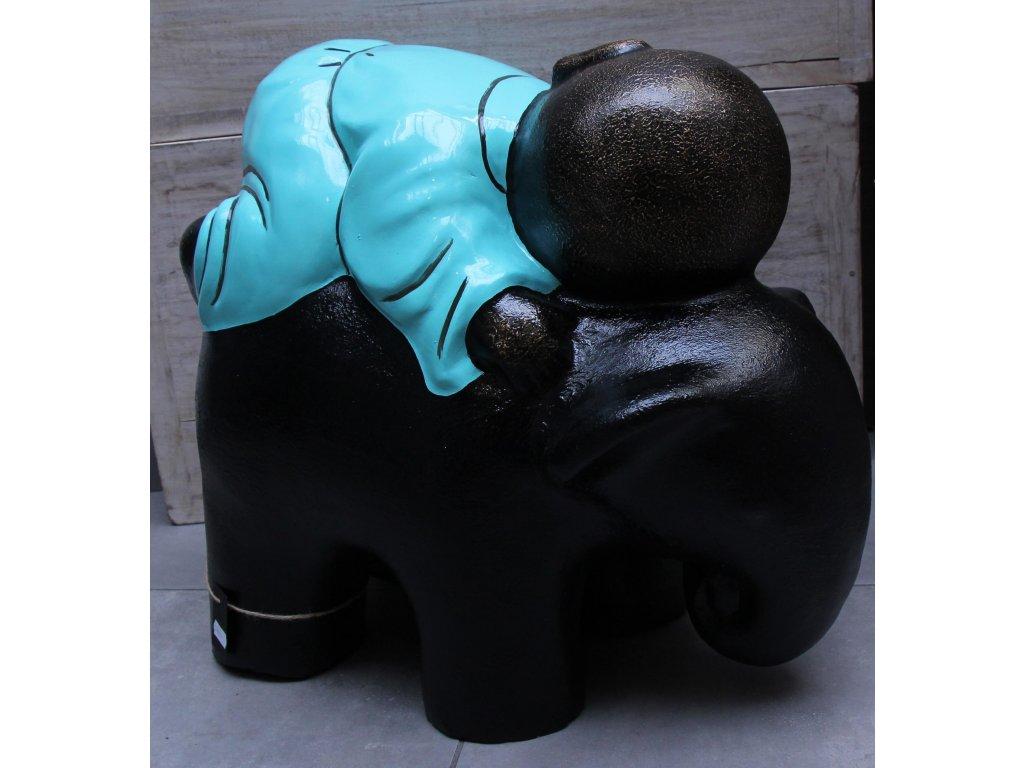Socha mnich Shaolin monk se slonem 46x30x26cm