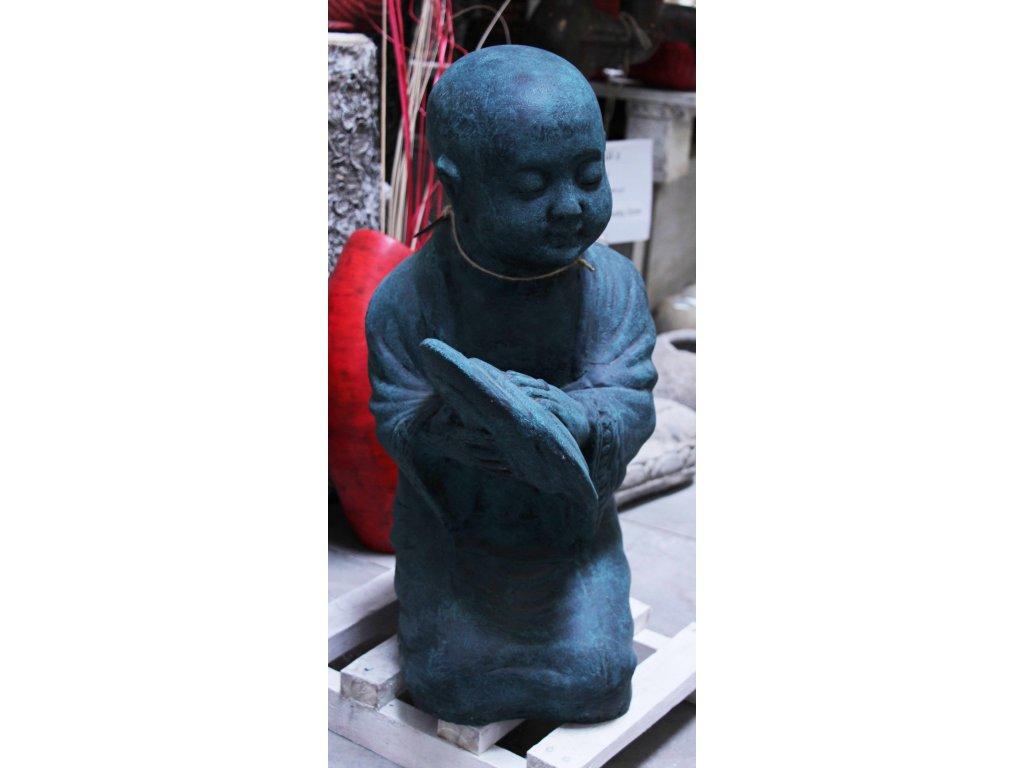 Socha mnich Shaolin monk činely 55cm - patina Greeny