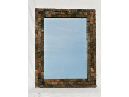 Dřevěné zrcadlo masiv vykládané lávovým kamenem model 76 90x70cm