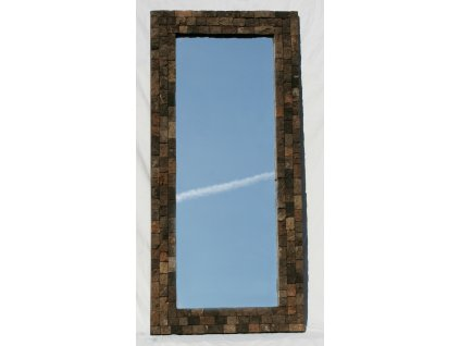 Dřevěné zrcadlo masiv vykládané lávovým kamenem model 80 130x60cm