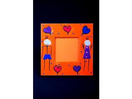Dřevěný ručně malovaný fotorámeček oranžový 15x15cm