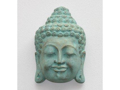 Socha Budha Buddha face wall 30cm patina TG