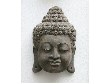 Socha Budha Buddha face wall 30cm patina grey