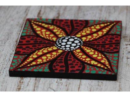 Dřevěný ručně malovaný podtácek 10x10cm flower multicolor square